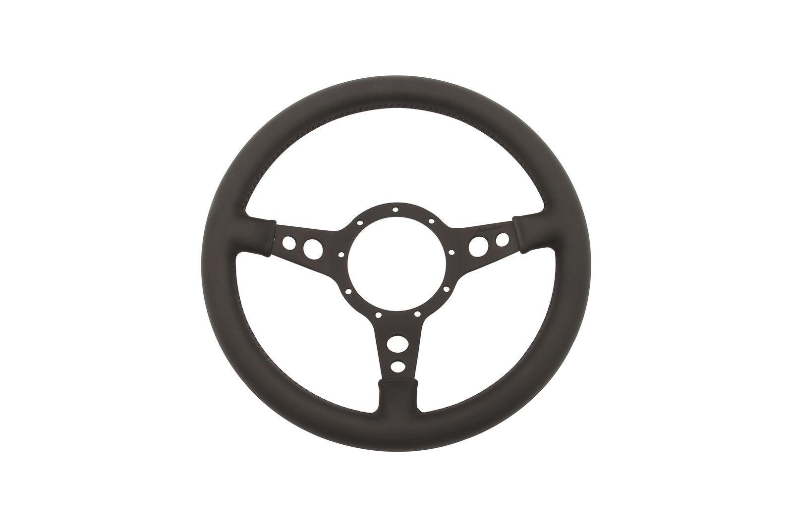 """#Leder-Lenkrad Moto-Lita geschüsselt 13"""" gelocht schwarz          , ML4DBD13"""