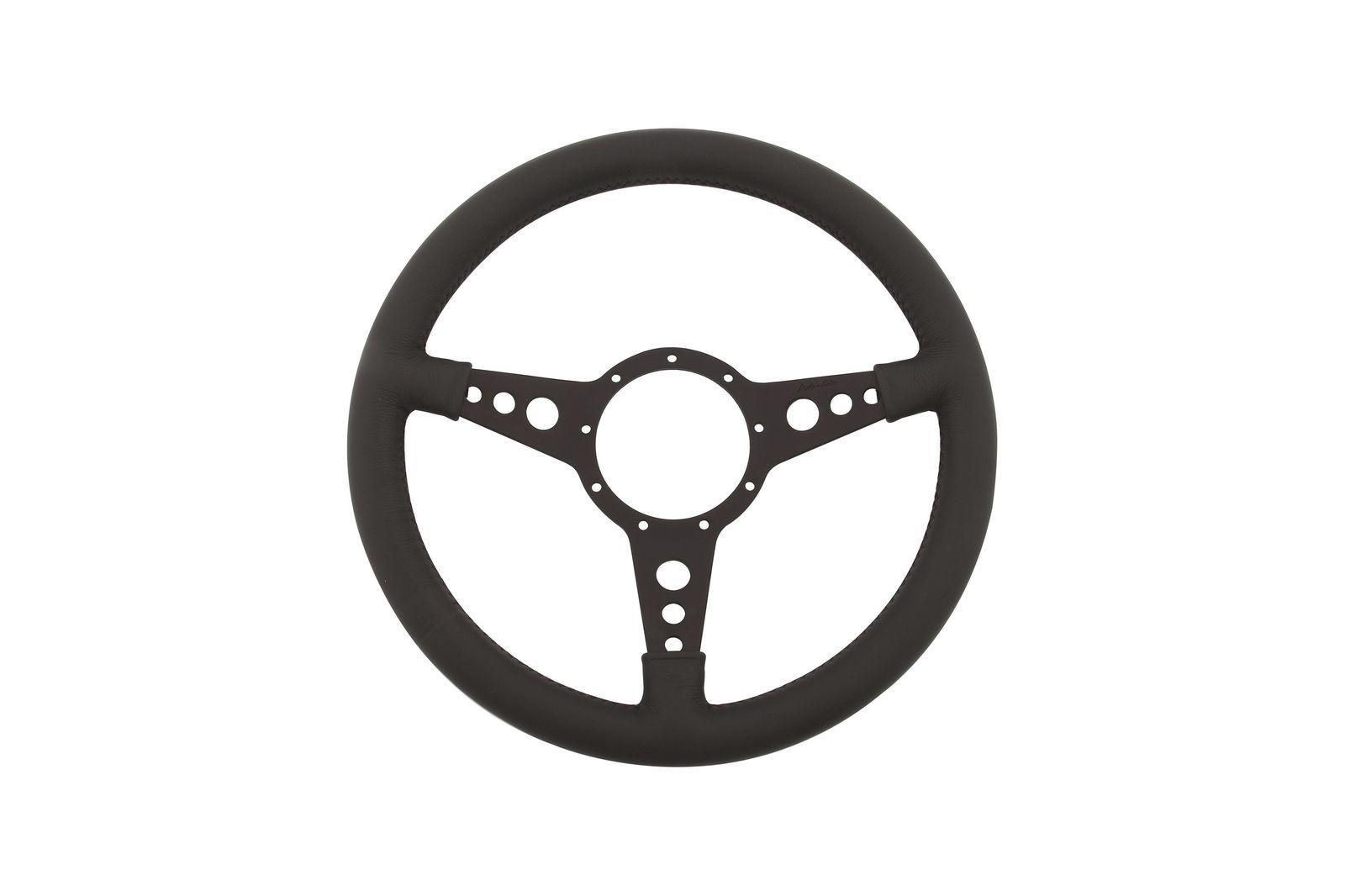 """#Leder-Lenkrad Moto-Lita geschüsselt 15"""" gelocht schwarz          , ML4DBD15"""