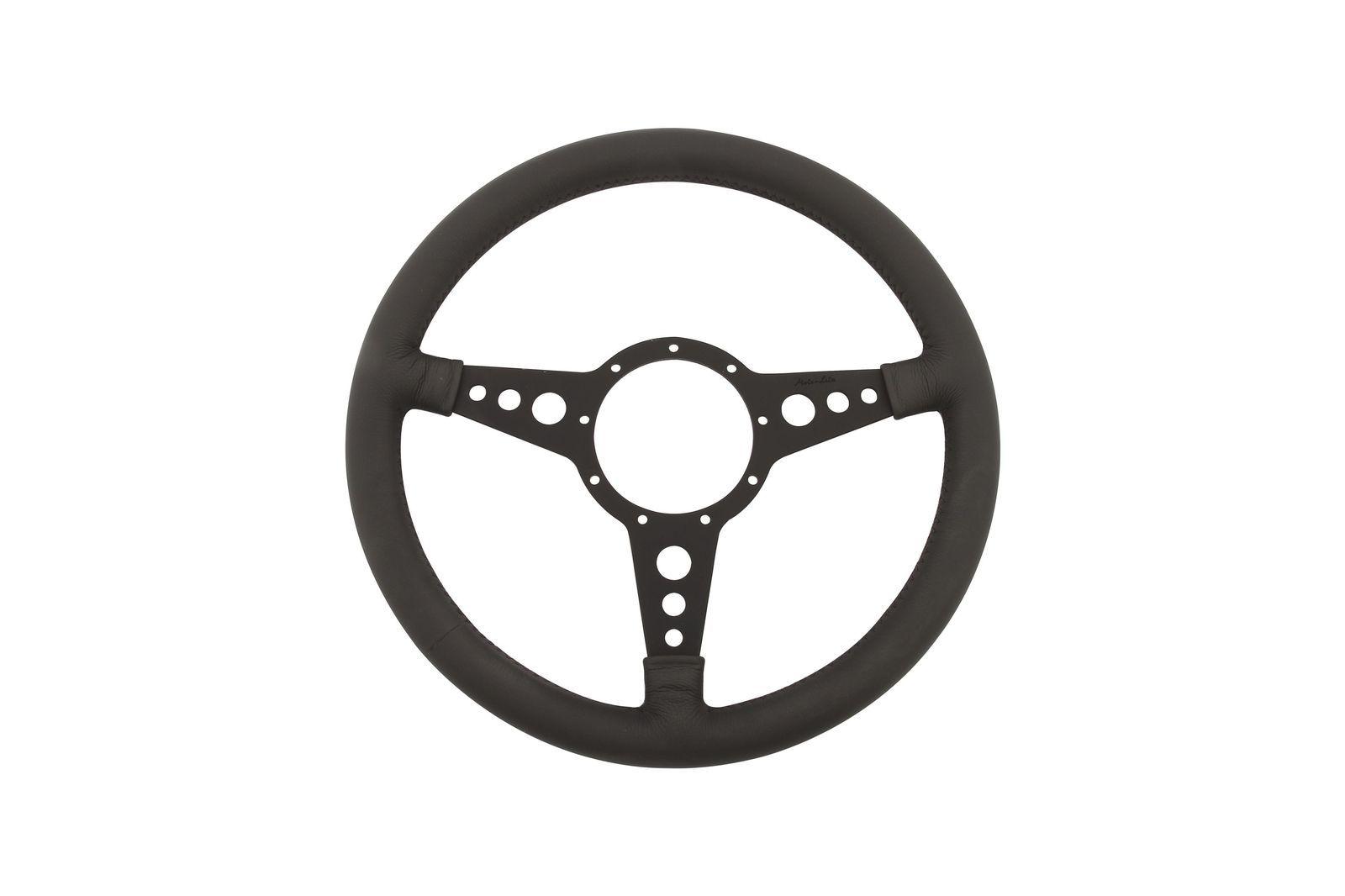 "#Leder-Lenkrad Moto-Lita flach 14"" gelocht schwarz           , ML4FBD14"