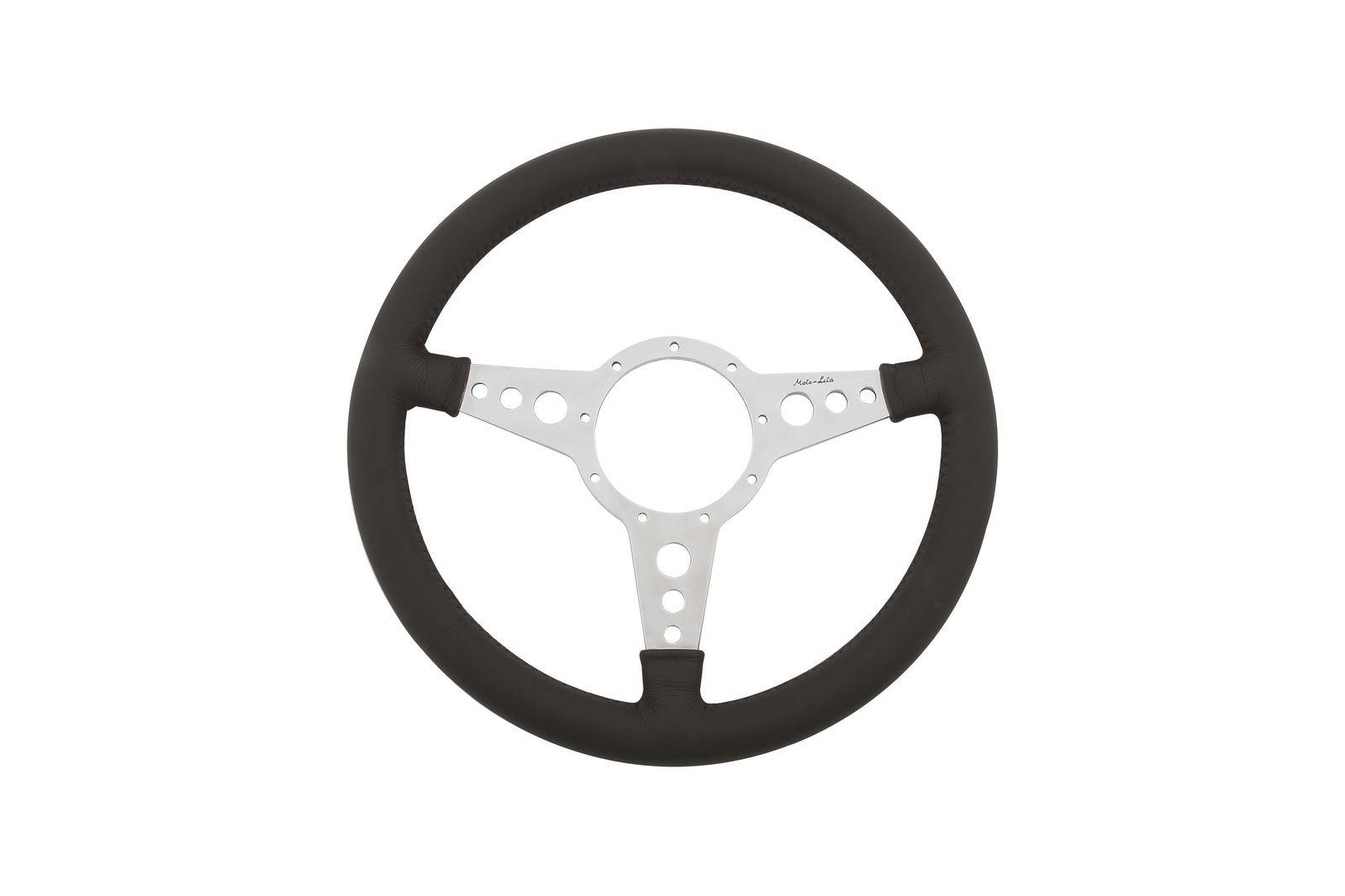 "#Leder-Lenkrad Moto-Lita flach 14"" gelocht poliert           , ML4FPD14"